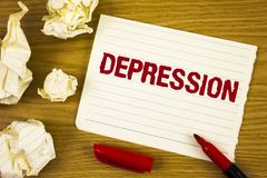Word writing text Depression. Business concept for Work stress with sleepless nights having anxiety disorder written on Tear Notep. Word writing text Depression stock photography