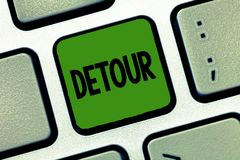 Word writing text Detour. Business concept for long or roundabout route taken to avoid something or visit somewhere.  stock image