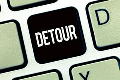 Word writing text Detour. Business concept for long or roundabout route taken to avoid something or visit somewhere.  stock photos