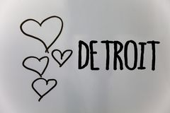Word writing text Detroit. Business concept for City in the United States of America Capital of Michigan Motown Hearts white backg. Round ideas messages love stock photography