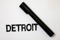 Word writing text Detroit. Business concept for City in the United States of America Capital of Michigan Motown Ideas messages whi. Te background black marker royalty free stock photos
