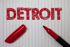 Word writing text Detroit. Business concept for City in the United States of America Capital of Michigan Motown Notebook paper bac. Kground open marker ideas stock photos