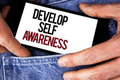 Word writing text Develop Self Awareness. Business concept for What you think you become motivate and grow written on Mobile phone Stock Photography