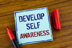 Word writing text Develop Self Awareness. Business concept for What you think you become motivate and grow written on Sticky note. Word writing text Develop Self stock photos