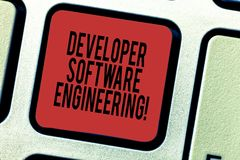 Word writing text Developer Software Engineering. Business concept for Forming software base on engineering standard. Keyboard key Intention to create computer royalty free stock photo