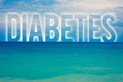 Word writing text Diabetes. Business concept for Chronic disease associated to high levels of sugar glucose in blood Blue beach wa stock photo