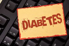 Word writing text Diabetes. Business concept for Medical condition diagnosed with increased high level sugar written on Sticky Not stock photo