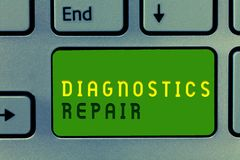 Word writing text Diagnostics Repair. Business concept for A program or routine that helps a user to identify errors.  stock photography