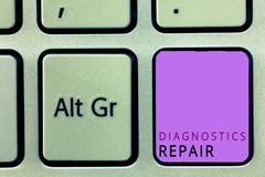 Word writing text Diagnostics Repair. Business concept for A program or routine that helps a user to identify errors.  royalty free stock photography