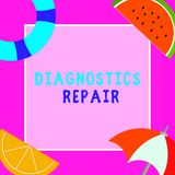 Word writing text Diagnostics Repair. Business concept for A program or routine that helps a user to identify errors.  royalty free stock photo