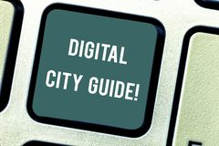Word writing text Digital City Guide. Business concept for app which provides assistance information on cultural. Keyboard key Intention to create computer royalty free illustration