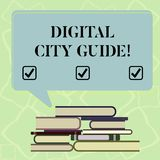Word writing text Digital City Guide. Business concept for app which provides assistance information on cultural Uneven. Pile of Hardbound Books and Blank stock illustration
