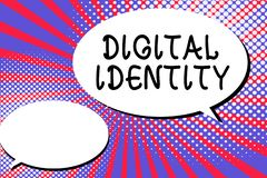 Word writing text Digital Identity. Business concept for information on entity used by computer to represent agent.  stock illustration