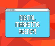 Word writing text Digital Marketing Agency. Business concept for Helps business engage with exact target audiences Monitor Screen. With Forward Backward royalty free illustration