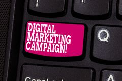 Word writing text Digital Marketing Campaign. Business concept for Online marketing effort to advertise brand Keyboard. Key Intention to create computer message stock images