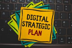 Word writing text Digital Strategic Plan. Business concept for creat schedule for marketing product or brand Multiple colour stick. Y border cards computer Royalty Free Stock Photos