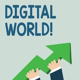 Word writing text Digital World. Business concept for Inter connected through digital devices and social media photo of. Word writing text Digital World royalty free illustration