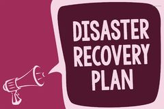 Word writing text Disaster Recovery Plan. Business concept for having backup measures against dangerous situation Reporting thinki. Ng alarming sound speaker Royalty Free Stock Images
