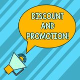 Word writing text Discount And Promotion. Business concept for reductions to a basic price of goods or services Blank. Oval Outlined Speech Bubble Text Balloon royalty free illustration