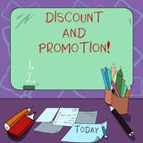 Word writing text Discount And Promotion. Business concept for reductions to a basic price of goods or services Mounted. Blank Color Blackboard with Chalk and vector illustration