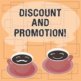 Word writing text Discount And Promotion. Business concept for reductions to a basic price of goods or services Sets of Cup Saucer. For His and Hers Coffee Face vector illustration