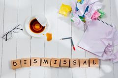 Word writing text Dismissal. Business concept stock images