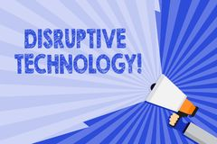 Word writing text Disruptive Technology. Business concept for one that displaces an established technology Hand Holding. Word writing text Disruptive Technology stock illustration