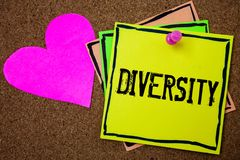 Word writing text Diversity. Business concept for Being Composed of different elements Diverse Variety Multiethnic Cork background royalty free stock photos