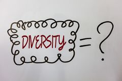 Word writing text Diversity. Business concept for Being Composed of different elements Diverse Variety Multiethnic Ideas messages. Doodle white background equal Stock Photo