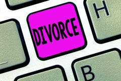 Word writing text Divorce. Business concept for Legal dissolution of marriage Separation Breakup Disagreement stock images