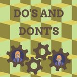 Word writing text Do S And Dont S. Business concept for Rules or customs concerning some activity or actions Two. Word writing text Do S And Dont S. Business stock illustration