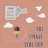 Word writing text Do What You Do. Business concept for Make things you are good at strive for excellence success Information and. Documents Passing thru Cloud stock image