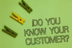 Word writing text Do You Know Your Customer question. Business concept for Have into account client likes opinion Outline words gr. Een middle yellow paper clip royalty free stock photo