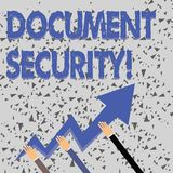Word writing text Document Security. Business concept for means in which important documents are filed or stored Three royalty free illustration