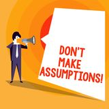 Word writing text Don T Make Assumptions. Business concept for predict events future without clue Alternative Facts. Word writing text Don T Make Assumptions vector illustration