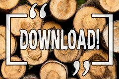 Word writing text Download. Business concept for Saving multiple file attachments to local harddisk drive location Wooden royalty free stock images