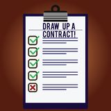 Word writing text Draw Up A Contract. Business concept for Write a business agreement cooperation legal papers Lined. Color Vertical Clipboard with Check Box vector illustration
