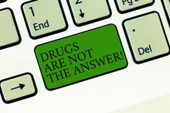 Word writing text Drugs Are Not The Answer. Business concept for Addiction problems good advice to help health Keyboard. Key Intention to create computer royalty free stock photography