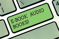 Word writing text E Book Audio Books. Business concept for recording on CD or cassette of reading novel story news stock photos