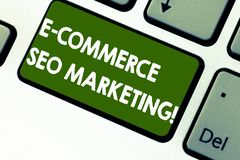 Word writing text E Commerce Seo Marketing. Business concept for Rise visibility of online store in search result stock photo