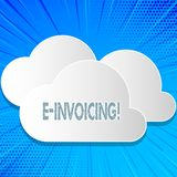 Word writing text E Invoicing. Business concept for Company encourages use of digital billing. Word writing text E Invoicing. Business concept for Company stock illustration