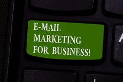 Word writing text E Mail Marketing For Business. Business concept for Mailing as advertising campaign strategies. Keyboard key Intention to create computer royalty free stock images