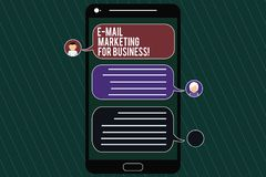 Word writing text E Mail Marketing For Business. Business concept for Mailing as advertising campaign strategies Mobile Messenger. Screen with Chat Heads and stock image