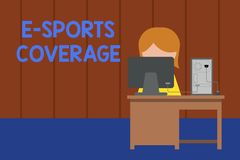 Word writing text E Sports Coverage. Business concept for Reporting live on latest sports competition Broadcasting Young. Word writing text E Sports Coverage stock photography