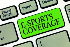 Word writing text E Sports Coverage. Business concept for Reporting live on latest sports competition Broadcasting.  stock photo