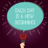 Word writing text Each Day Is A New Beginning. Business concept for Every morning you can start again Inspiration Blank. Oval Color Speech Bubble Above a Broken royalty free illustration