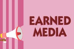 Word writing text Earned Media. Business concept for Publicity gained through promotional efforts by multimedia Megaphone loudspea. Ker pink stripes important royalty free stock image