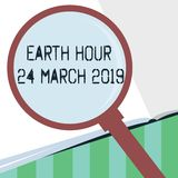 Word writing text Earth Hour 24 March 2019. Business concept for Celebrate Sustainability Save the Planet Lights Off.  vector illustration