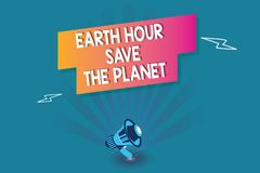 Word writing text Earth Hour Save The Planet. Business concept for The Lights Off EventMovement by WWF every March.  vector illustration