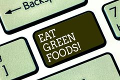 Word writing text Eat Green Foods. Business concept for Eating more vegetables healthy diet vegetarian veggie. Demonstrating Keyboard key Intention to create stock illustration